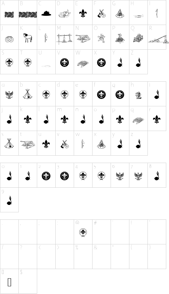 Indonesiana Scout vl.1 font character map