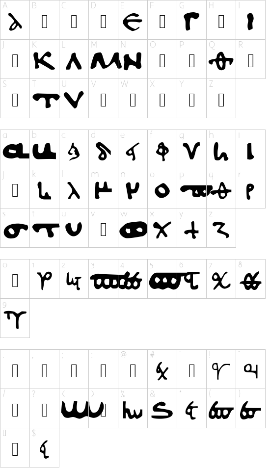 l562 Minuscule Normal font character map