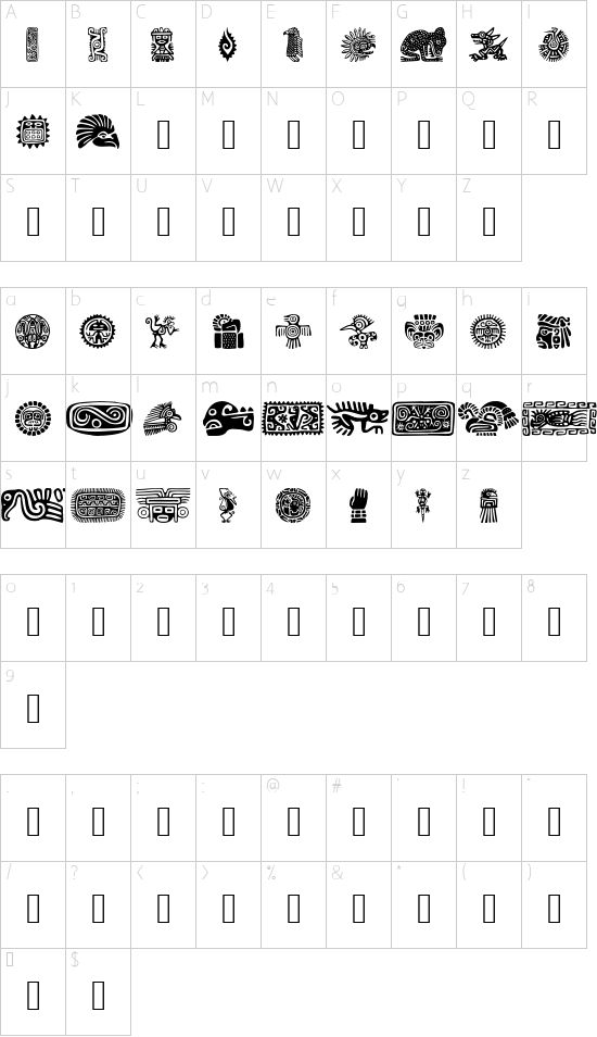 MexicanMotif font character map