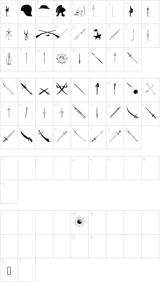 Weapons font character map