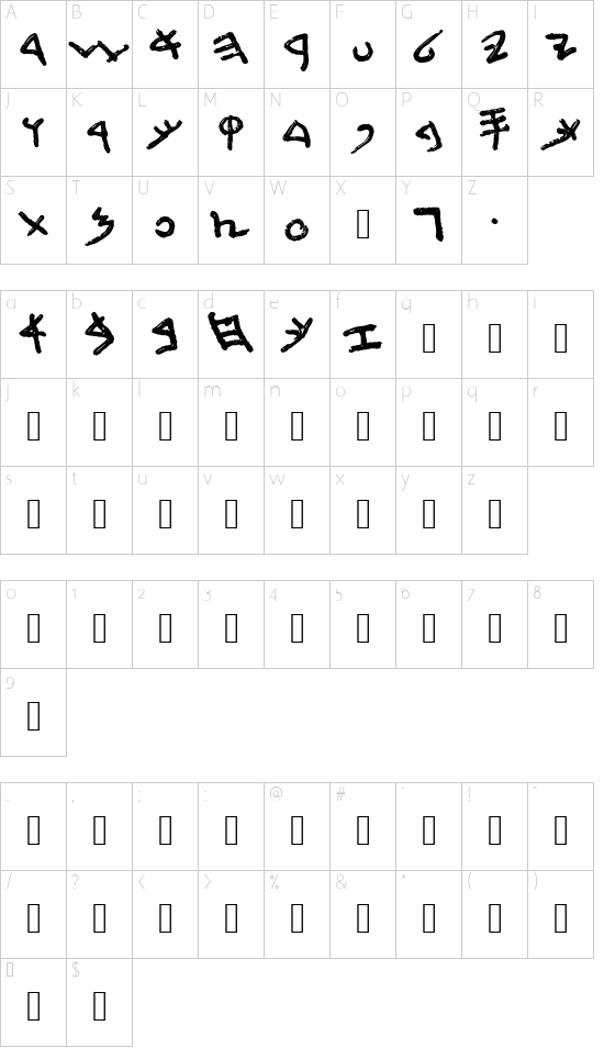 First Temple font character map