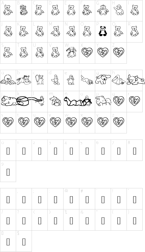 FL Scrappy Beans font character map