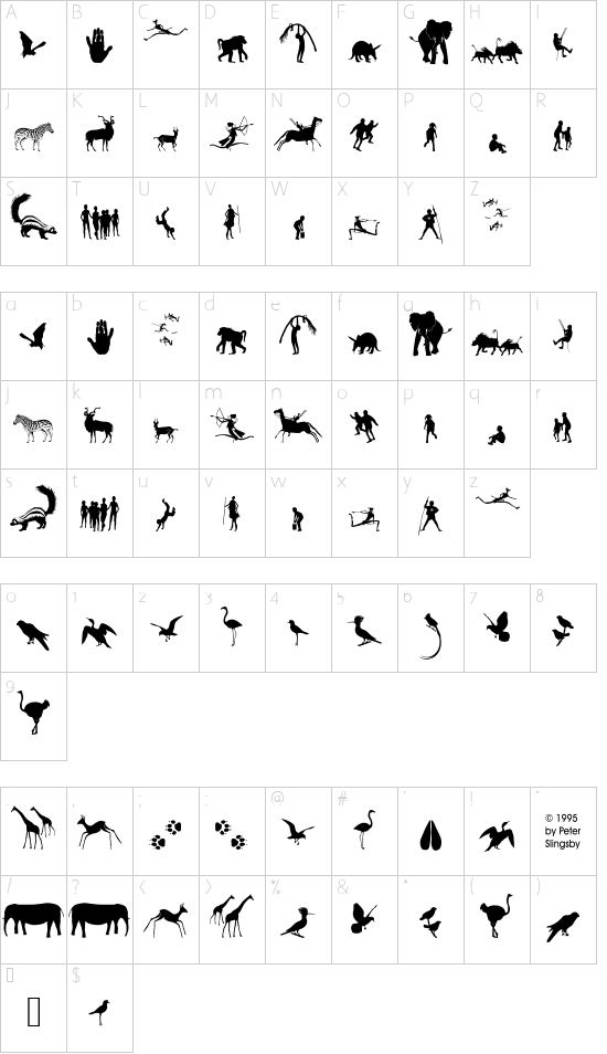 Fonts of Afrika Sample font character map
