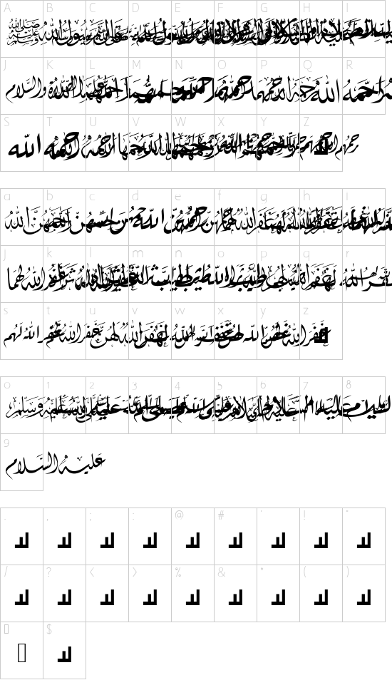 Mcs Hadeith 1 font character map