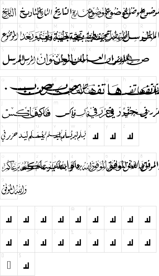 Mcs Letter Word 3 font character map