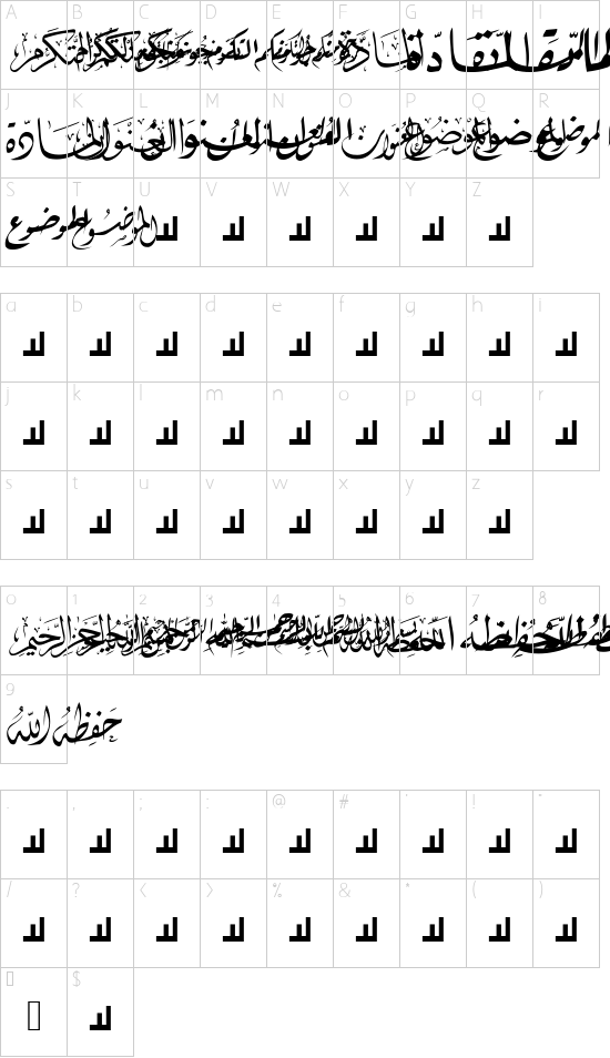 Mcs Letter Word 5 font character map