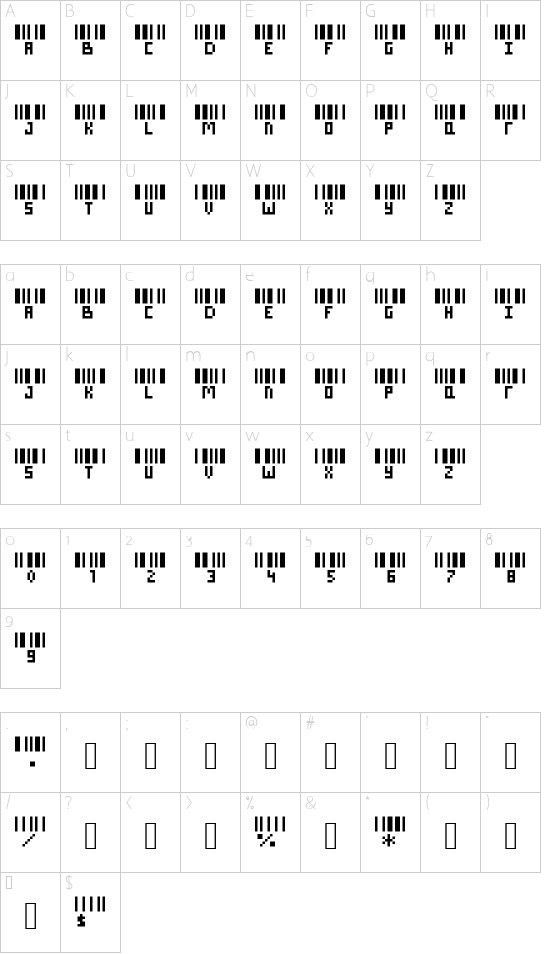 Barcode w/ Letters/Names Regular font character map