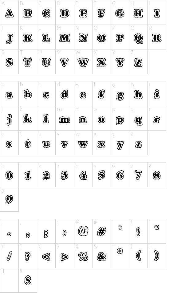 VTC FuzzyPunkySlippers font character map
