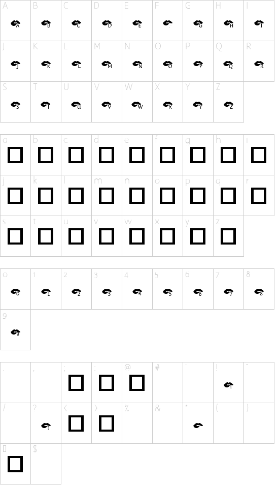 KR Bite Your Lip! font character map