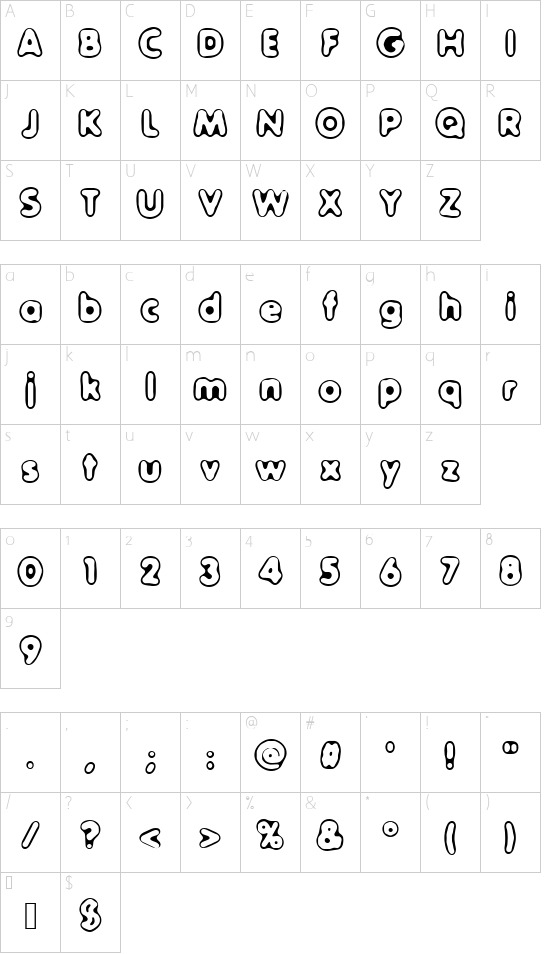 Outer Sider (BRK) font character map