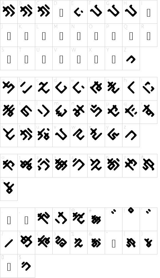 Elekiel Bold font character map