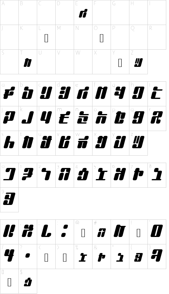 JointBump font character map