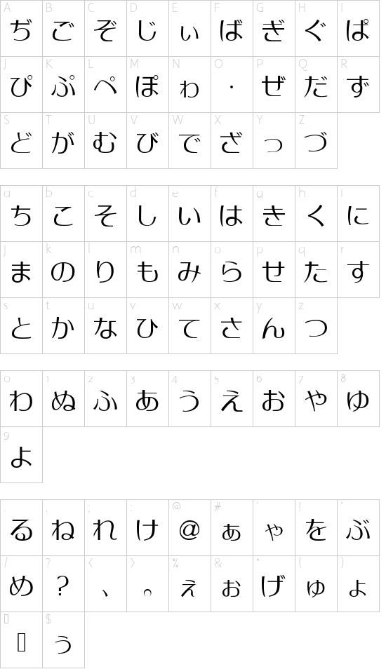 MoonbeamsHiragana font character map