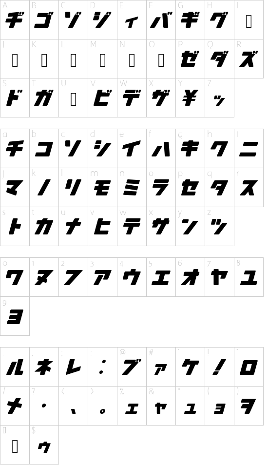 Arakawa Plane font character map