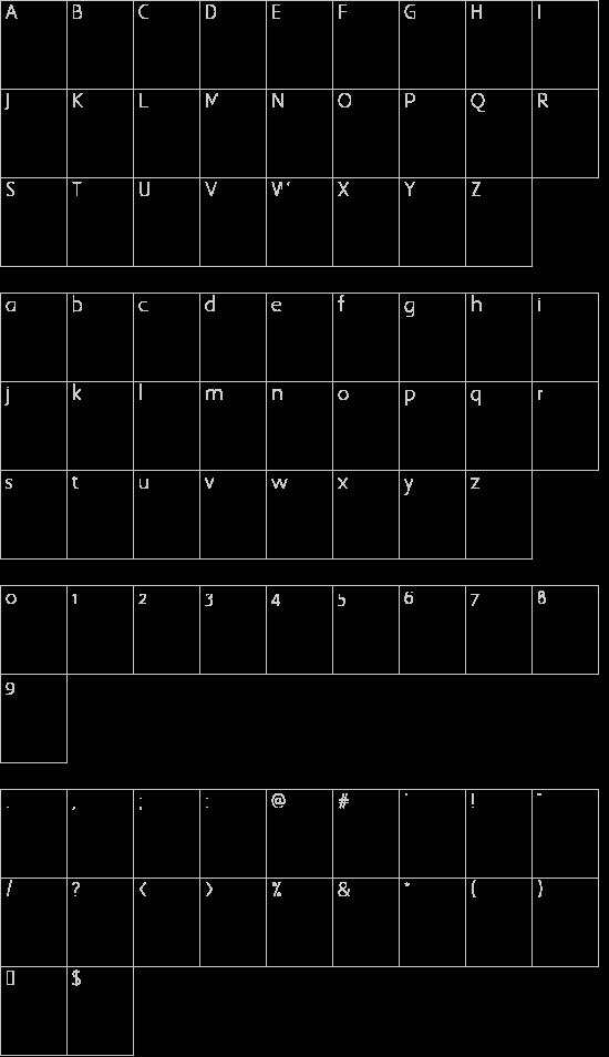 Kinishinai NBP Regular font character map
