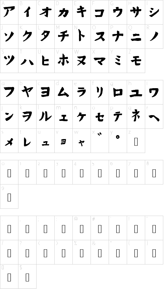 Hand Drawn Wasabi font character map