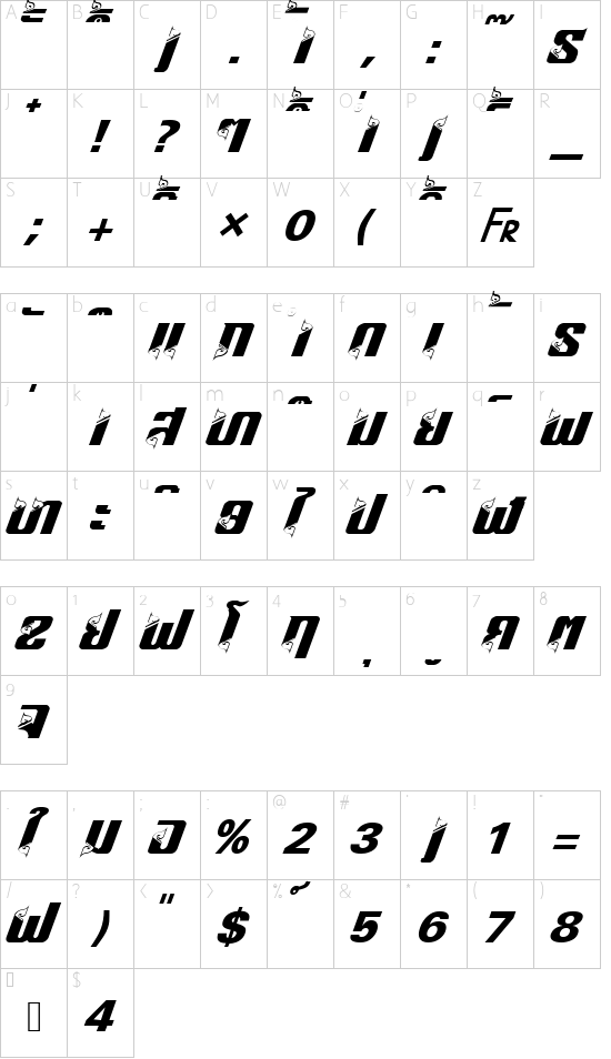 HONGKAD18 font character map