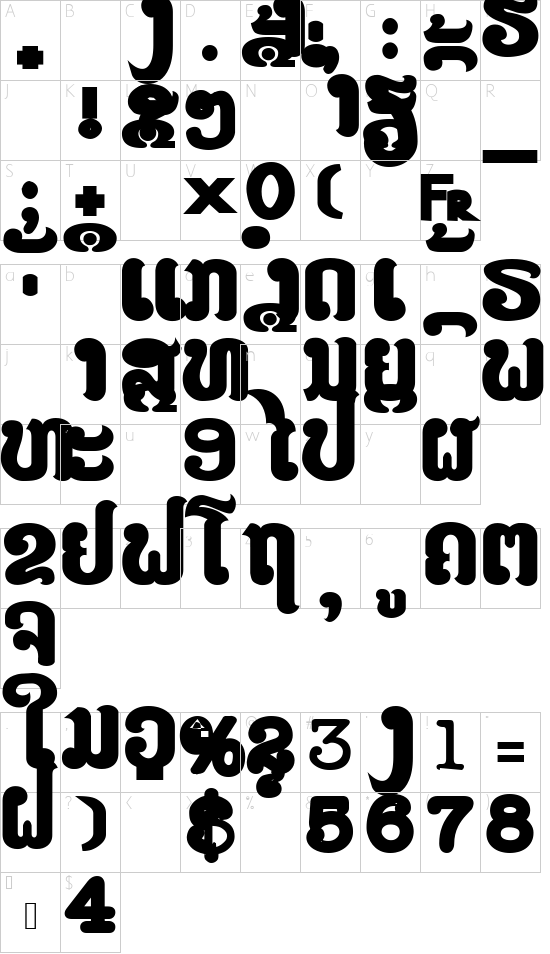 LAOMAY_1  CHAREUNSINH font character map