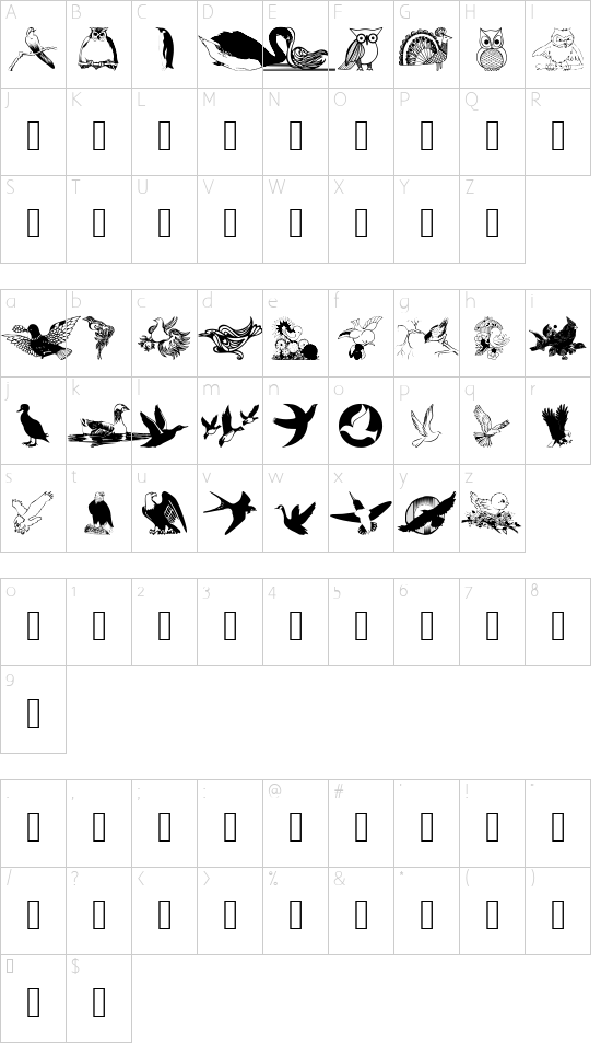 wmbirds1 font character map