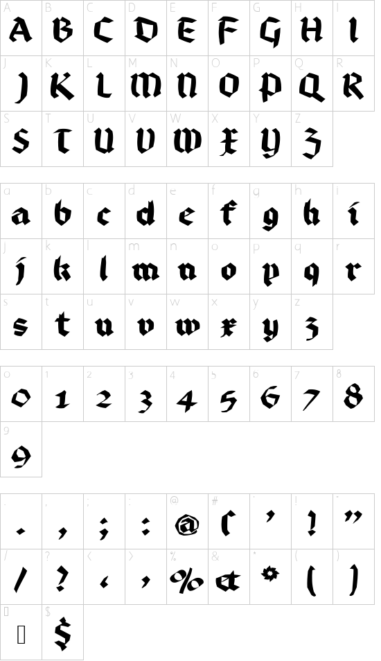 BruchRund font character map