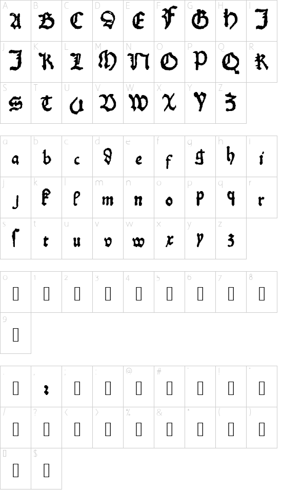 KobergerN10DruckBastarda font character map