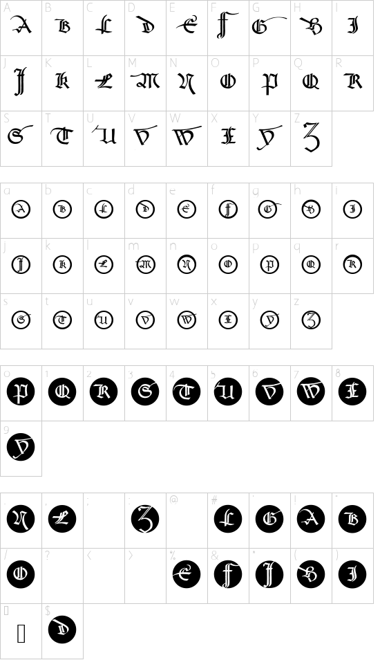 SchneidlerSchwabachInitials font character map