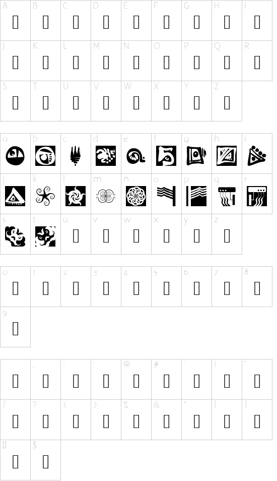 Annsample font character map