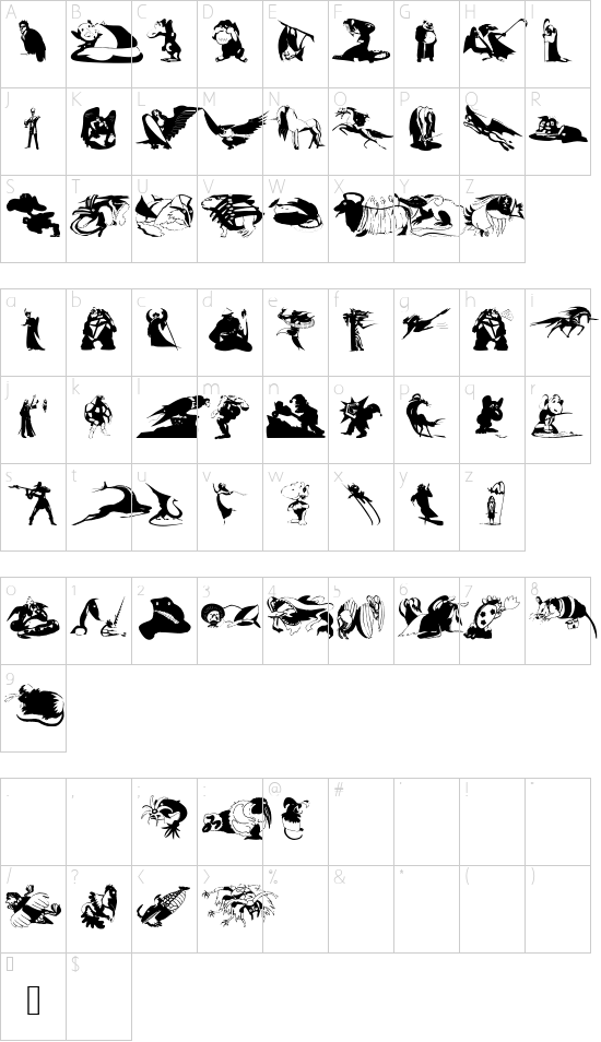 FantasyBeings font character map