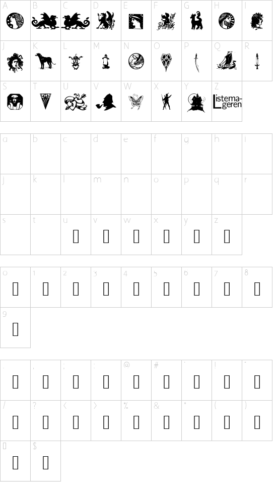 Listemagerens Dingbats 1 font character map