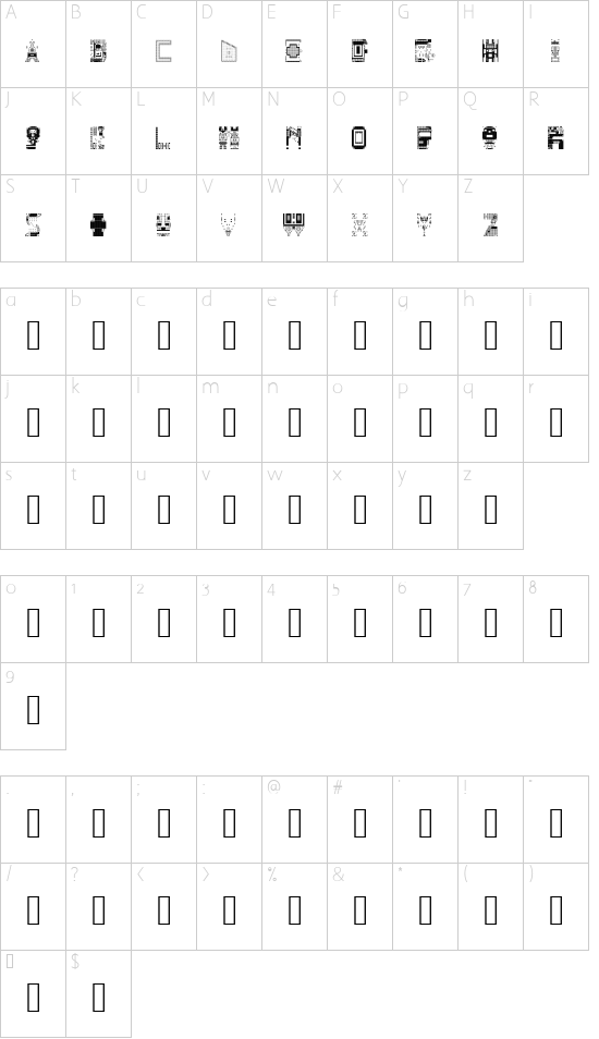 N.E. Deconstroying my Top Pick Regular font character map
