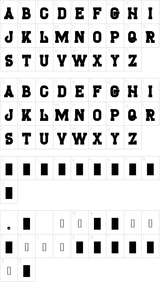H74_TheBlackBureau font character map