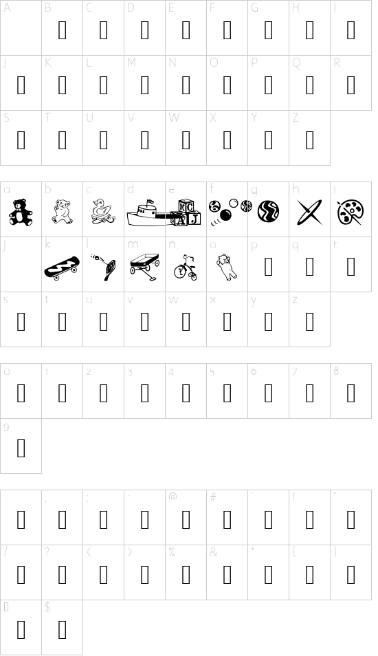 AEZ classical toys font character map