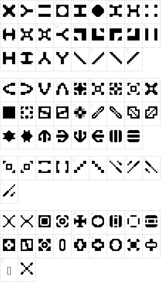 Builder2 font character map