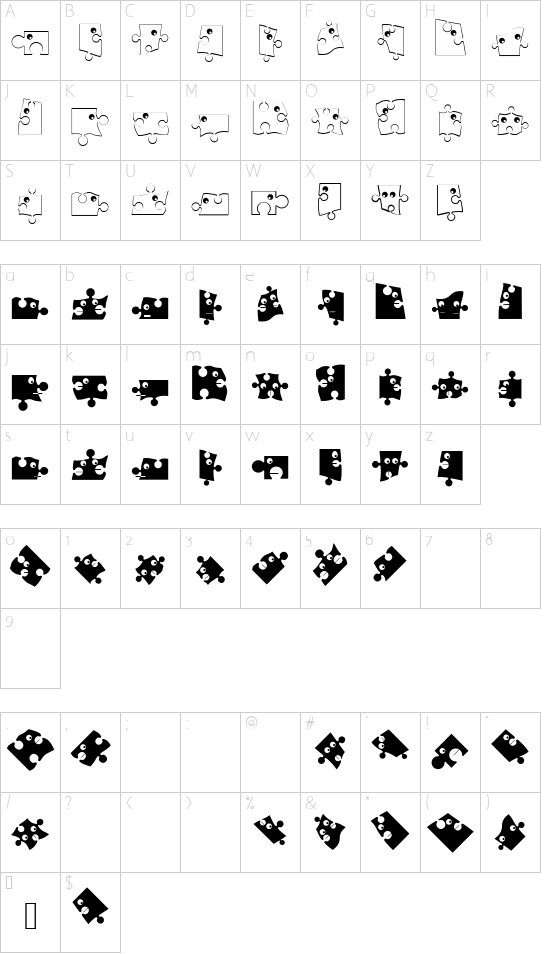 PuzzleParts font character map