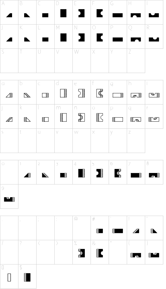 TPF Box of Bricks font character map