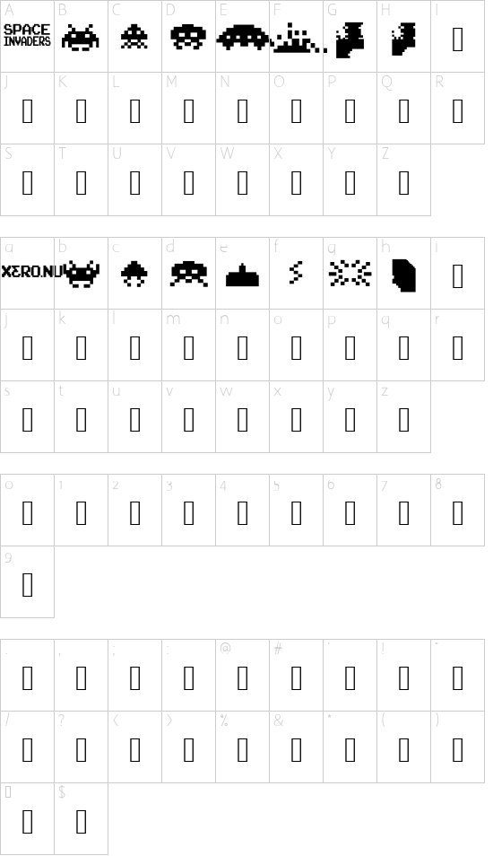 Invaders from Space font character map