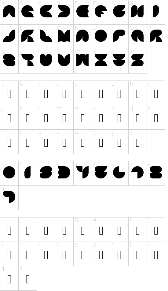 4X4 curves Regular font character map