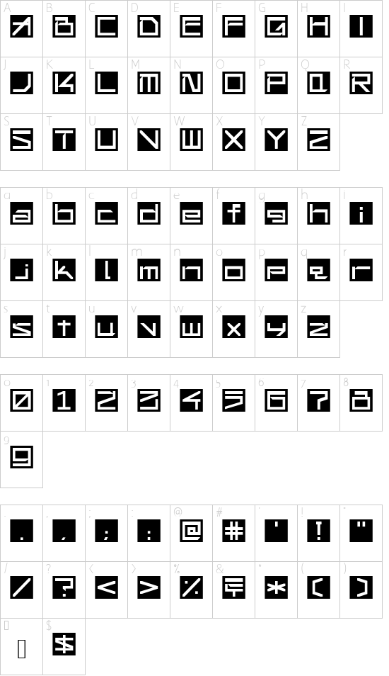 !Square Engine 250 Reflex font character map