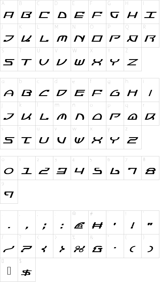 Jumptroops Italic font character map
