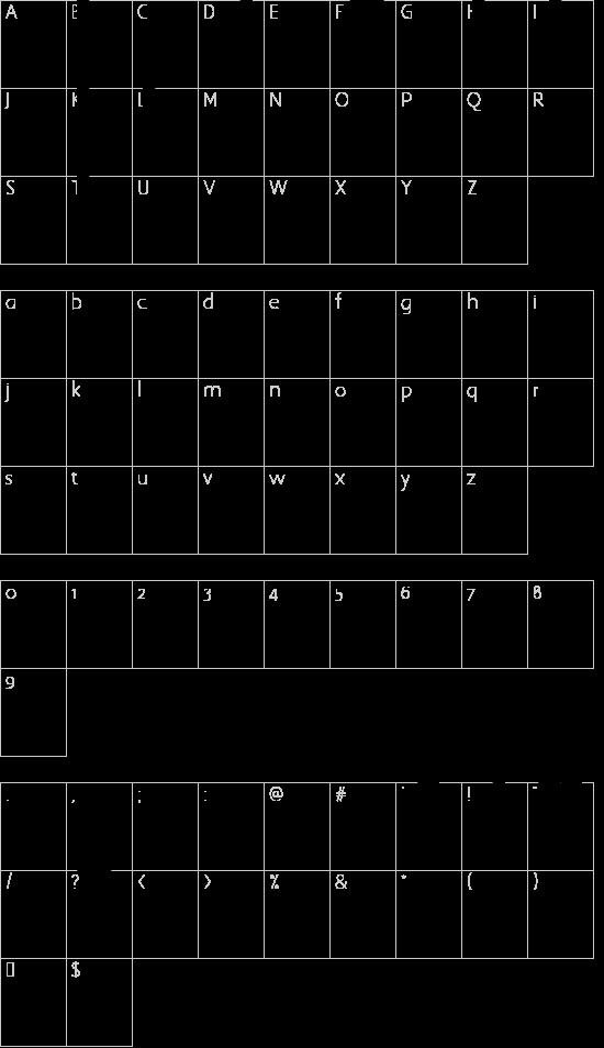 Lovestructured Regular font character map