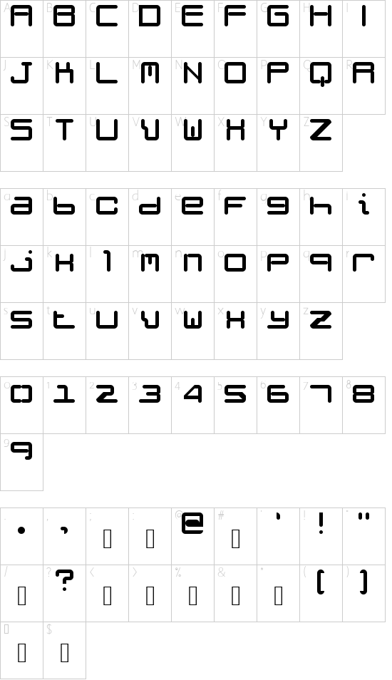 Weird Science NBP Regular font character map