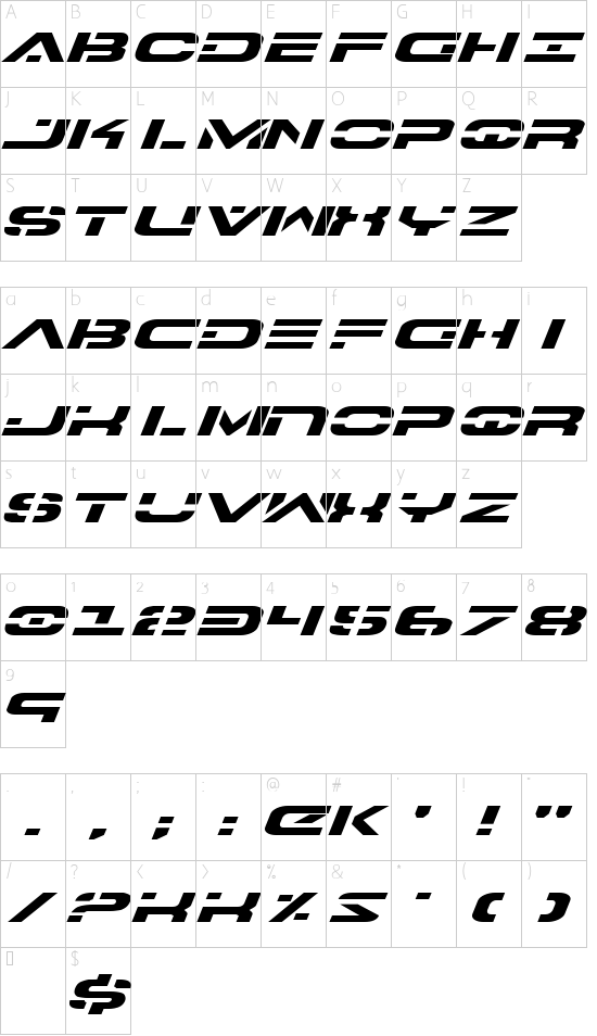 7th Service Expanded Italic font character map