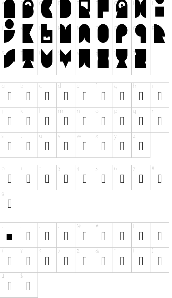 00ne Minix Art Deco 2 Regular font character map