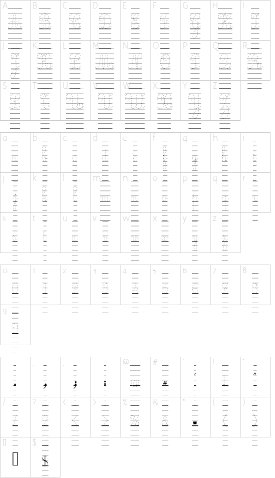 Ecolier_lignes_pointill font character map