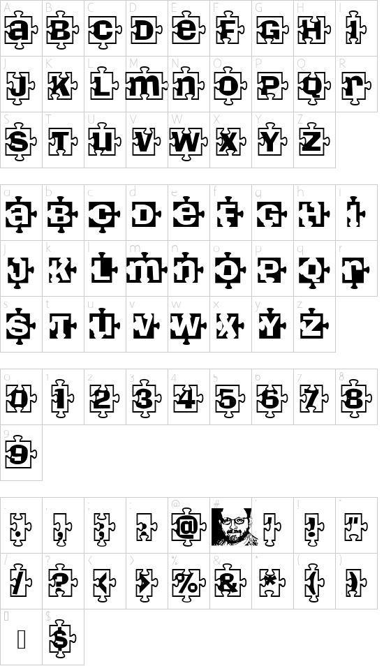 PiecesBW font character map