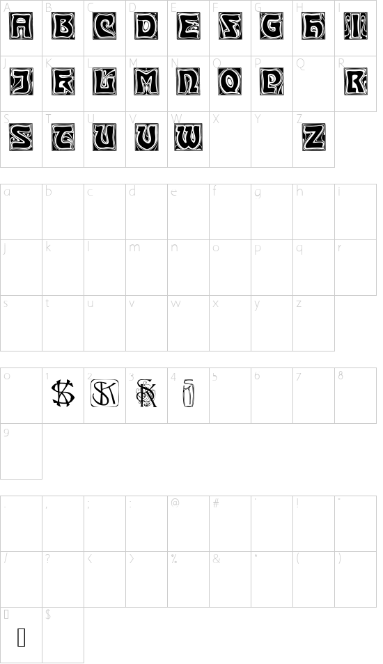 KinigsteinKaps font character map