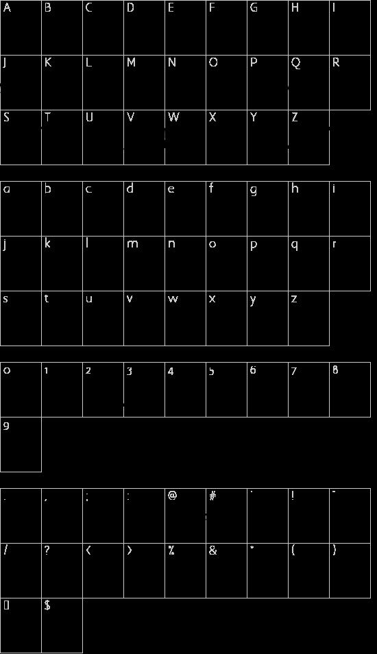 BlottoooWobbly font character map