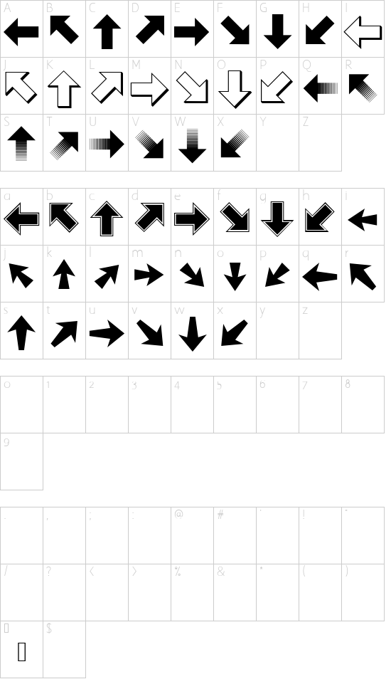 PizzaDude Pointers font character map