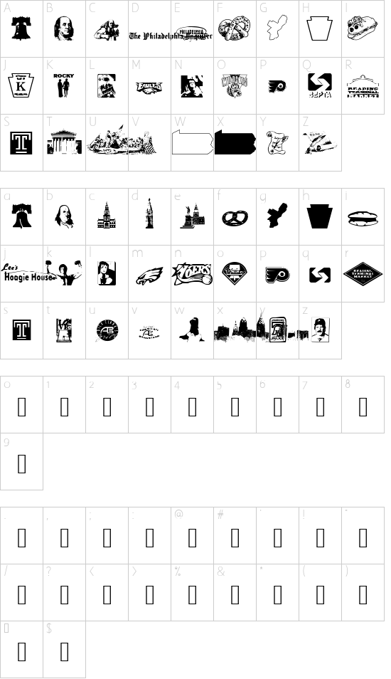 Philly Dings font character map
