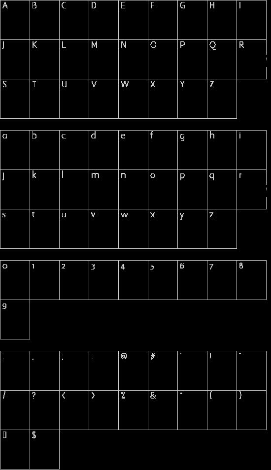 Big Ten Mania font character map
